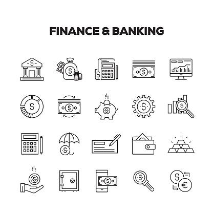 Vetores de Finanças E Banca Linha Conjunto De Ícones e mais imagens de Abstrato