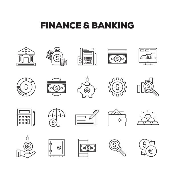 finance and banking line icons set - bank stock illustrations