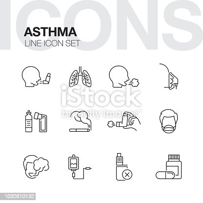 ASTHMA LINE ICONS