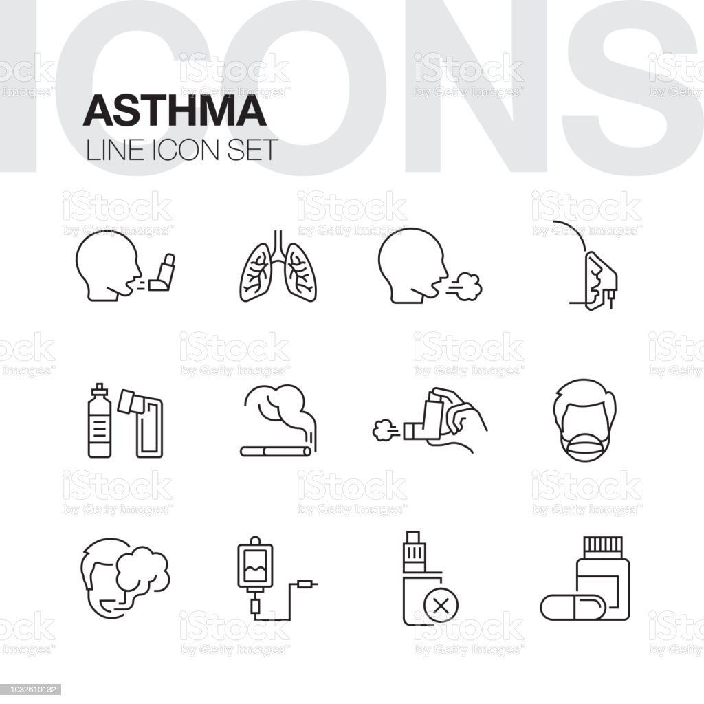 ASTHMA LINE ICONS vector art illustration