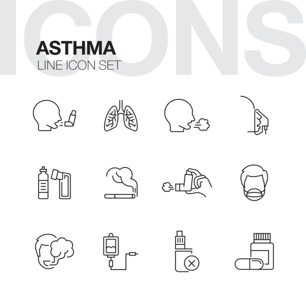 ASTHMA LINE ICONS ASTHMA LINE ICONS inhaling stock illustrations
