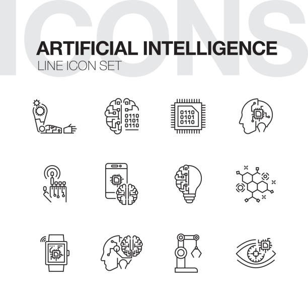 artificial intelligence line icons - sztuczna inteligencja stock illustrations