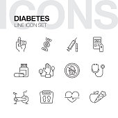DIABETES LINE ICONS
