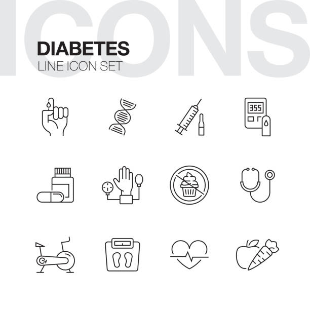 stockillustraties, clipart, cartoons en iconen met pictogrammen van de lijn van de diabetes - diabetes