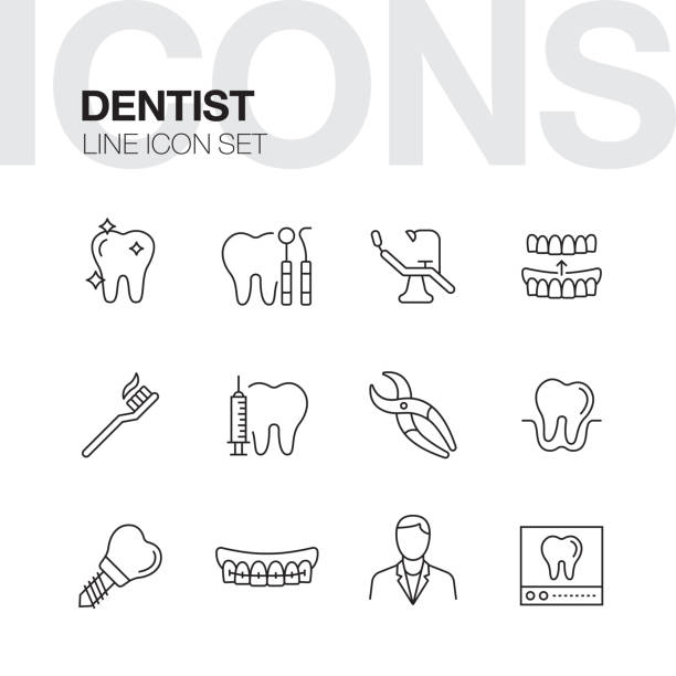 dentist line icons - dentist stock illustrations