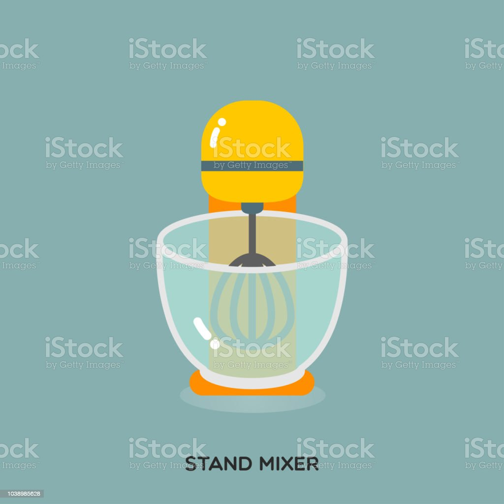 YELLOW STAND MIXER vector art illustration