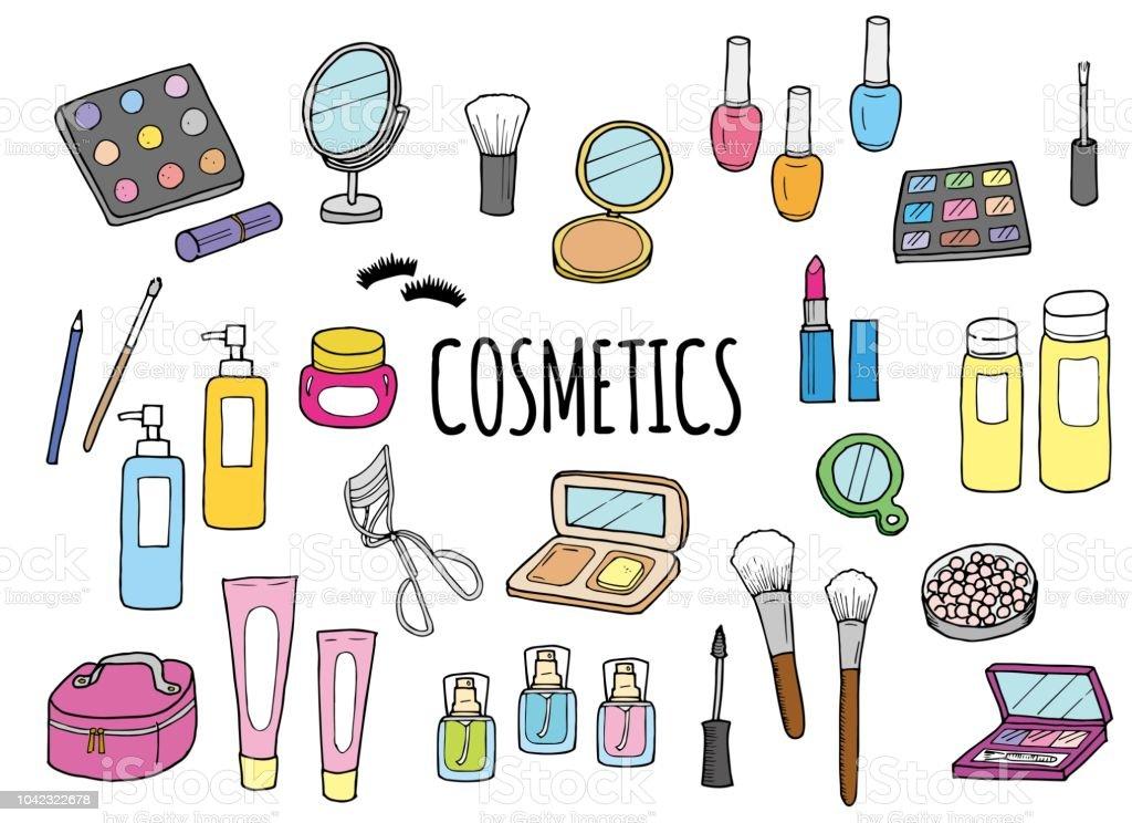 化粧品のイラストセット つけまつげのベクターアート素材や画像を多数