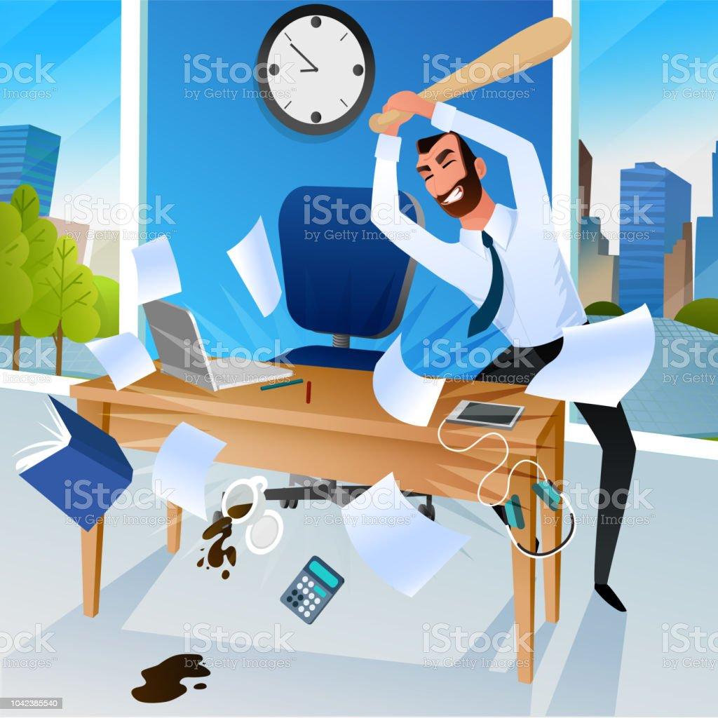 стресс на работе vector art illustration