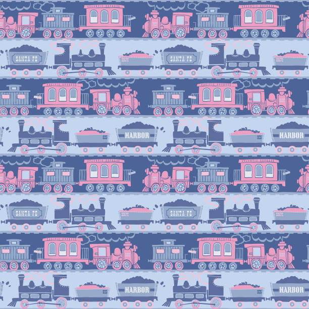 bildbanksillustrationer, clip art samt tecknat material och ikoner med seamless_retro_train_railroad_pattern_silhouette_cartoon_girly_pink_blue_background - hui style