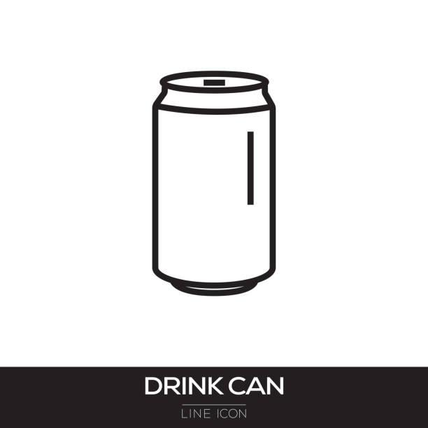illustrazioni stock, clip art, cartoni animati e icone di tendenza di drink can line icon - latte