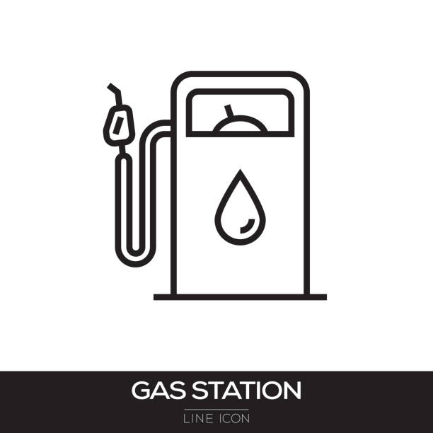 GAS STATION LINE ICON GAS STATION LINE ICON station stock illustrations