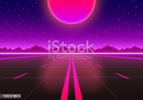 The road to infinity at sunset. Vector illustration