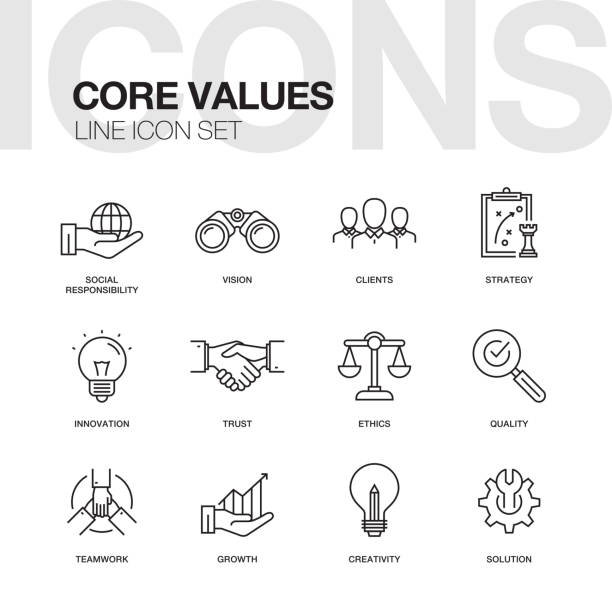 core values line icons set - autorytet stock illustrations
