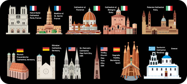 illustrazioni stock, clip art, cartoni animati e icone di tendenza di cathedral ( church ) - palermo città