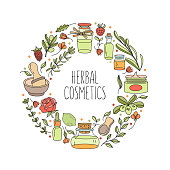 Herbal cosmetics. Aromatic natural oils. Vector illustration. Set of ingredients of natural cosmetics, plants, jars. All illustration elements are isolated and can be used independently in another design.
