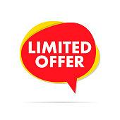 Limited offer label sale speech bubble. Eps10