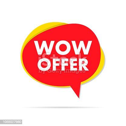 Wow offer sale label speech bubble. Eps10