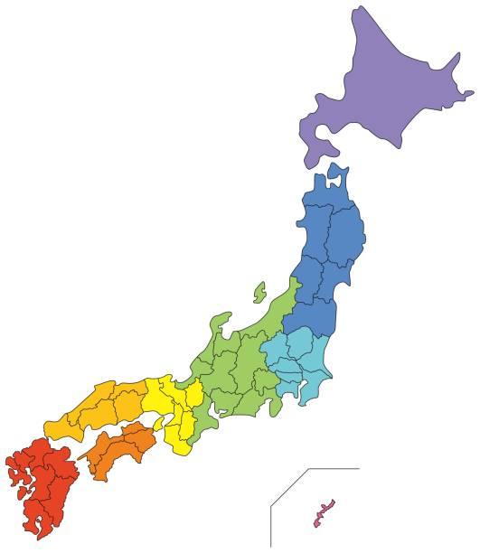 日本地図(地方別に色分け) - 日本 地図点のイラスト素材/クリップアート素材/マンガ素材/アイコン素材