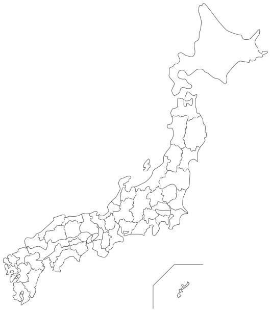日本の白地図(モノクロ) - 日本 地図点のイラスト素材/クリップアート素材/マンガ素材/アイコン素材
