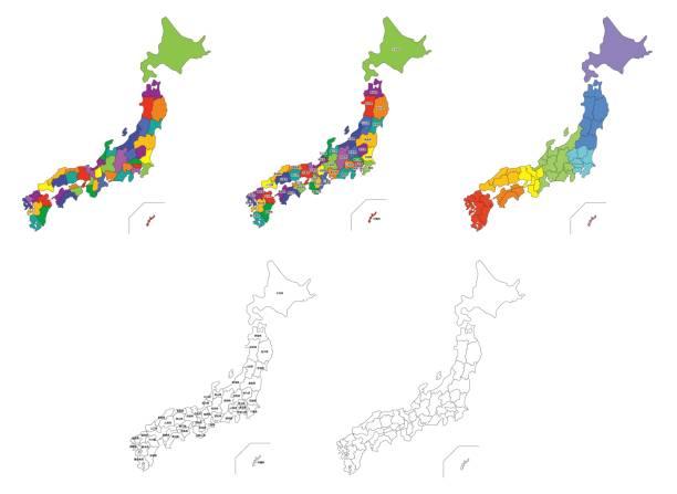 日本地図のセット - 日本 地図点のイラスト素材/クリップアート素材/マンガ素材/アイコン素材