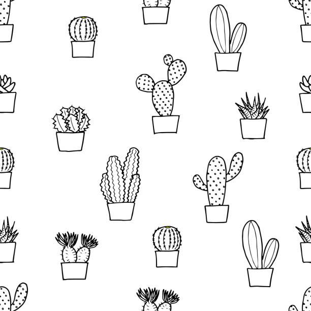 ボテンの壁紙(モノクロ、シームレス) ボテンの壁紙(モノクロ、シームレス) illustrations and モノクロ stock illustrations
