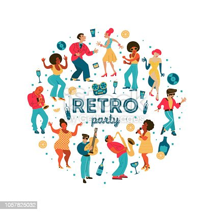 Poster of the festival of jazz music. Retro party. People dance rock and roll. Musicians play saxophone and trumpet. Jazz singer. A large set of characters in the style of 70-80 years. Vector illustration, poster.