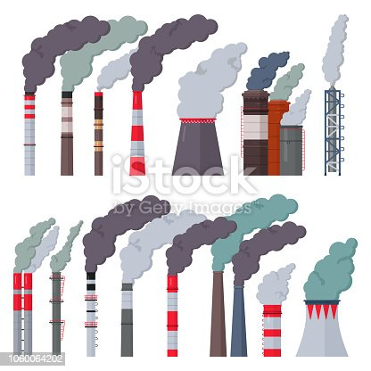 Industry factory vector industrial chimney pollution with smoke in environment illustration set of chimneyed pipe factory with toxic air isolated on white background.