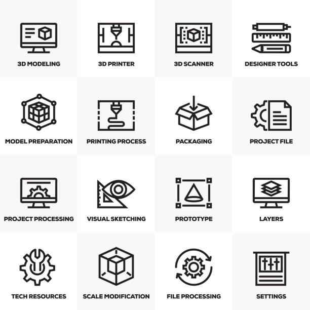 illustrations, cliparts, dessins animés et icônes de impression 3d et la modélisation ligne icons set - infographie industrie manufacture production