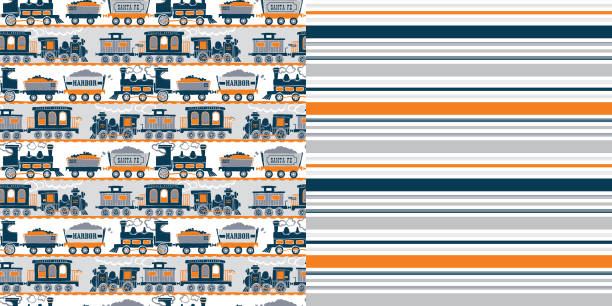 bildbanksillustrationer, clip art samt tecknat material och ikoner med pattern_set_retro_train_allover_print_coordinated_stripe_patterns_orange_navy_blue_white_background - hui style
