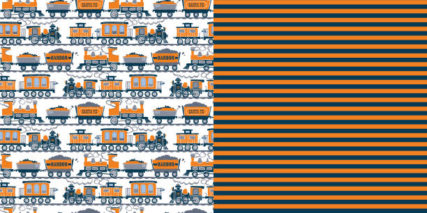 bildbanksillustrationer, clip art samt tecknat material och ikoner med pattern_set_retro_train_allover_print_coordinated_patterns_orange_navy_blue_stripe_background - hui style