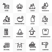 BEAUTY AND SPA LINE ICONS SET