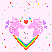 Love wings. Cute template with pink unicorns with wings, heart. Text copy frame template. It can be used for wedding, invitation, birthday, St. Valentine's Day, party, child birth, greetings. Vector