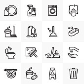 CLEANING LINE ICONS SET