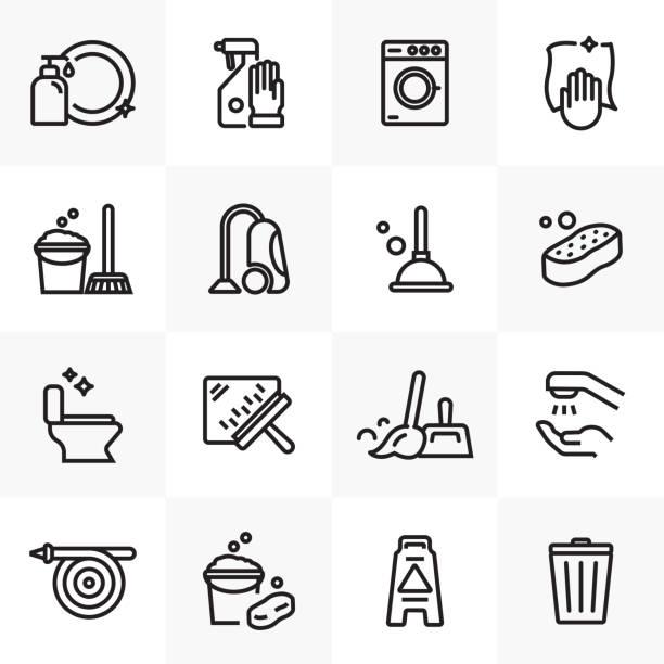 temi̇zli̇k hatti icons set - cleaning stock illustrations
