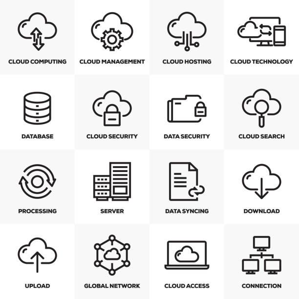 stockillustraties, clipart, cartoons en iconen met cloud hosting lijn icons set - netwerkserver