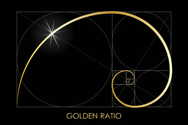 GR 3 Golden ratio. Fibonacci number. Circles in golden proportion. Geometric shapes. Logo. Abstract vector background. Vector nautilus shell stock illustrations