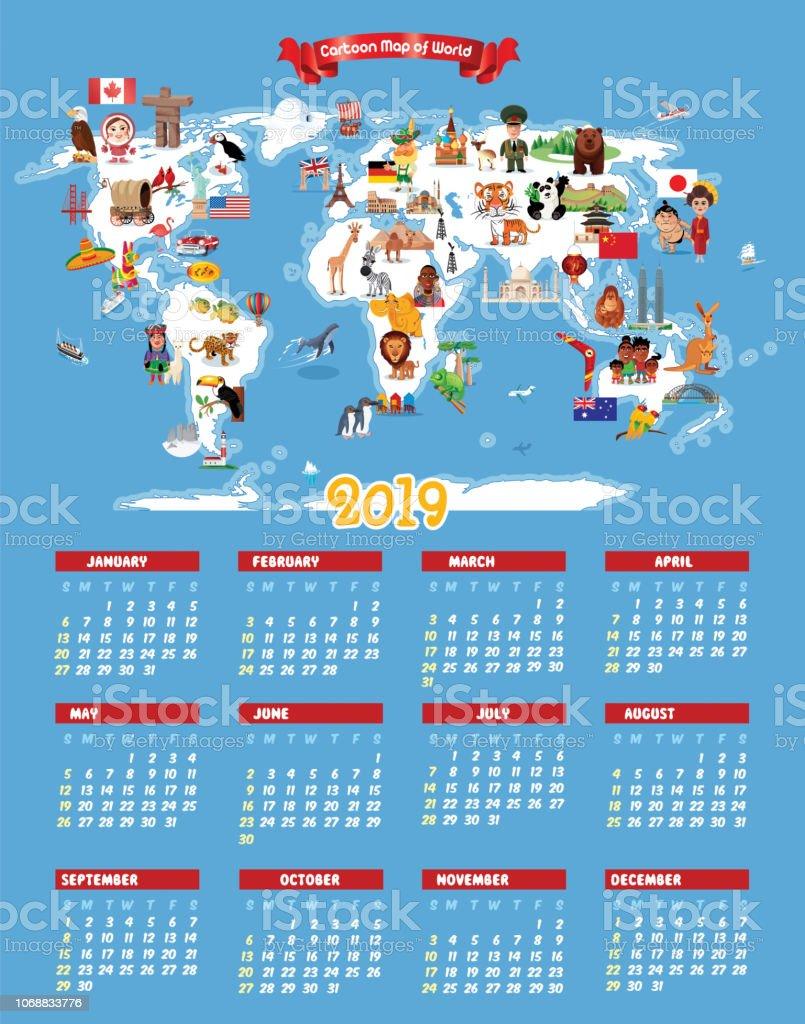 World Calendar.Cartoon Map Of World And Calendar 2019 Stock Illustration Download