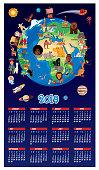 CARTOON MAP OF WORLD AND CALENDAR 2019
