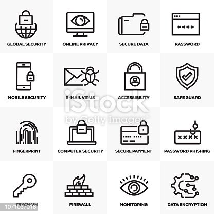CYBER SECURITY LINE ICONS SET