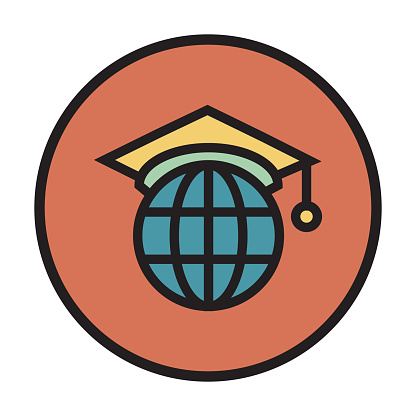 GLOBAL EDUCATION FLAT LINE ICON