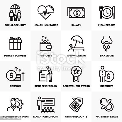 EMPLOYEE BENEFITS LINE ICONS SET