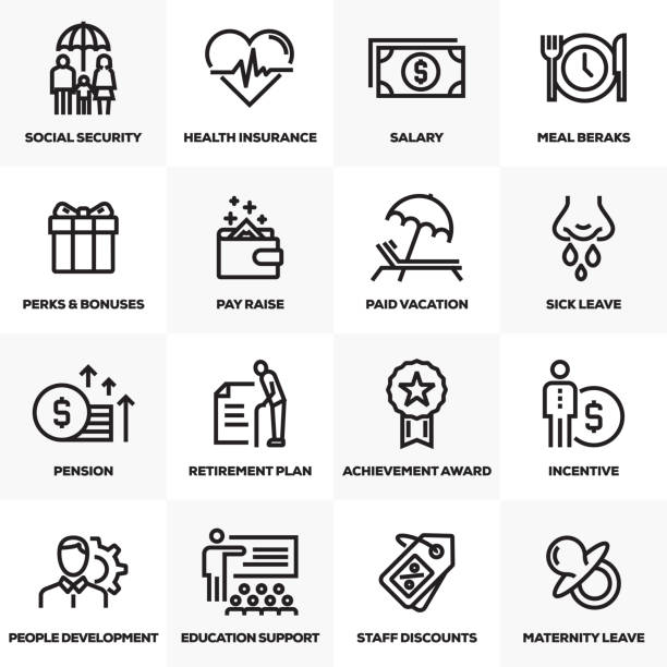 EMPLOYEE BENEFITS LINE ICONS SET EMPLOYEE BENEFITS LINE ICONS SET charity stock illustrations