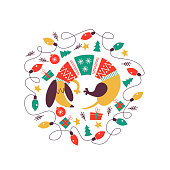 Cute Dachshund dog in a bright knitted sweater. Christmas composition. Dogs and Christmas decorations, garland of colorful bulbs. The composition is in the form of a circle. It will look good on t-shirts, mugs, postcards.