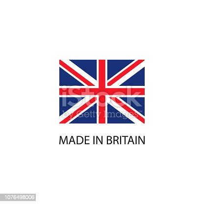 Made in Britain sign with national flag