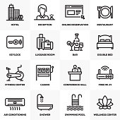 HOTEL SERVICES LINE ICONS SET