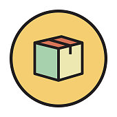 PACKAGE FLAT LINE ICON
