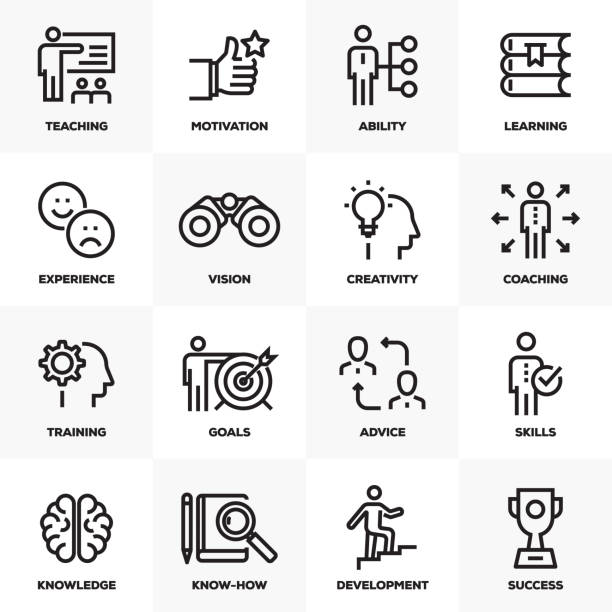 mentoring & training line icons set - opportunity stock illustrations