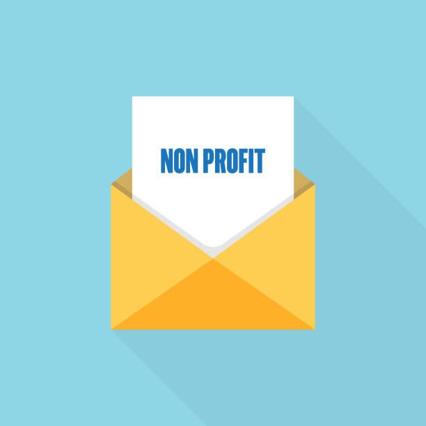 stockillustraties, clipart, cartoons en iconen met non profit brief bericht - non profit