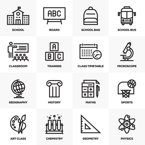 スクール ライン アイコン セット - 語学の授業点のイラスト素材/クリップアート素材/マンガ素材/アイコン素材