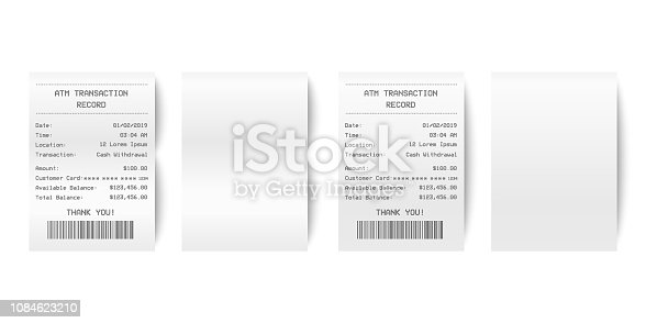 Vector Realistic 3d Paper Printed ATM Transaction Record Receipt Set Closeup Isolated on White Background. Design Template of Bill ATM, Receipt Records, Paper Financial Check for Mockup. Top View.